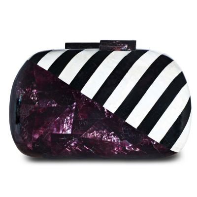 Jean Violet Oyester Black Pen Shell White Kabebe Clutch