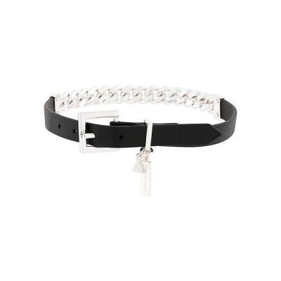 Black Leather Silver Chain Wrap Choker or Bracelet; wear as either | Coup De Coeur