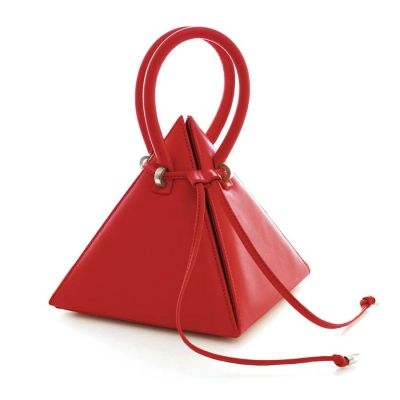Gaudi Lia Pyramid Red Leather Handbag | Nita Suri