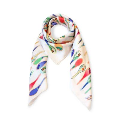 White Porcelain Dancing Spoons Silk Scarf