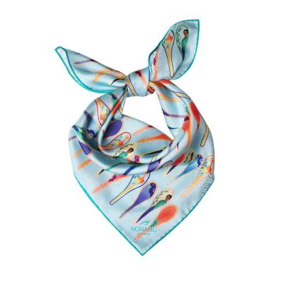 Light Blue White Porcelain Dancing Spoons Silk Scarf