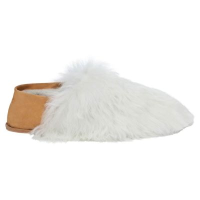 Pearl White Express Alpaca Fur Slippers