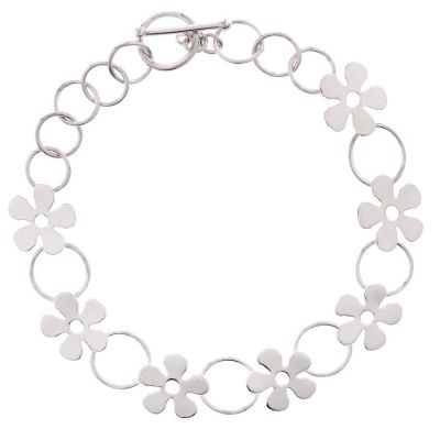 POTC Jewellery Delicate Silver Tone Bracelet with Flower Feature