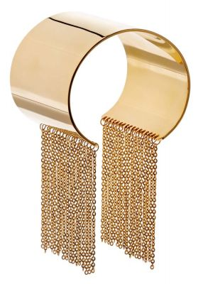 POTC Jewellery Gold Plated Cuff With Chain Fringe