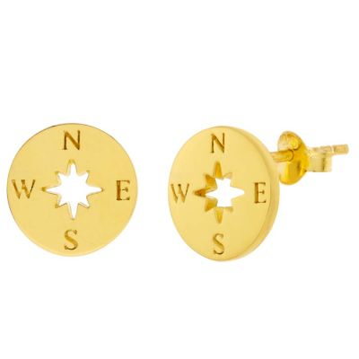 POTC Jewellery Gold Plated Compass Stud Earrings