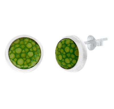 POTC Jewellery Silver and Green Shagreen Stud Earrings