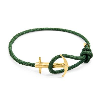 Racing Green Admiral Anchor 9ct Yellow Gold and Stingray Leather Bracelet | ANCHOR AND CREW