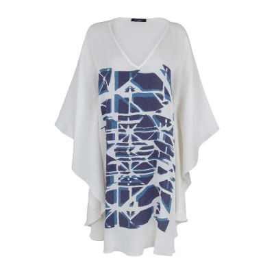 Short Kaftan Dress Blue & White