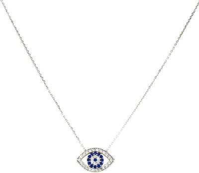Blee Inara Silver Plated Large CZ Eye Charm and Chain Necklace