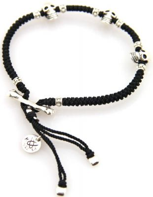 Kriss and Jules Silver Skull Black Bracelet