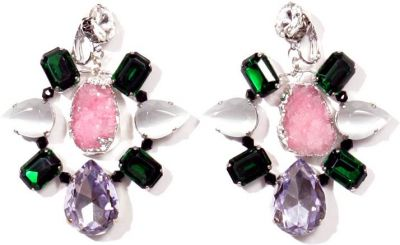 VOLHA Jewelry Silver Plated Pink Druzy Quartz and Crystals Clip Earrings