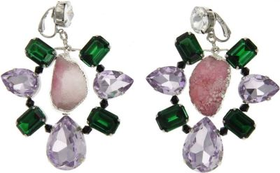 VOLHA Jewelry Silver Plated Pinkish Brown Druzy Quartz and Crystals Clip Earrings