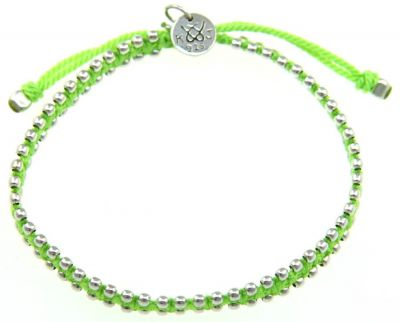 Kriss and Jules Small Silver Bites Neon Green Nylon Thread Bracelet