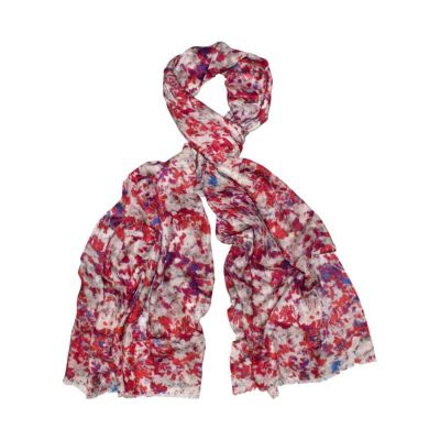Splatter Red Silk and Wool Scarf