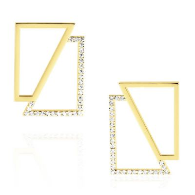 14k Yellow Gold Asymmetry Square Earrings | OSYLIA London