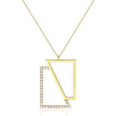 Assymetric Square Necklace in Yellow Gold | OSYLIA London