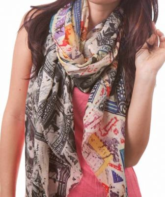 Bindya NY Stamp Art Scarf