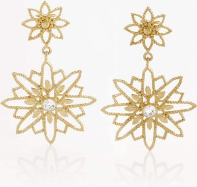 Tulola Starburst Double Drop 18k Gold Vermeil Earrings