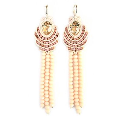 Swarovski Crystals and Tassels of Crystal Beads Pendant Earrings | Olga Sergeychuk