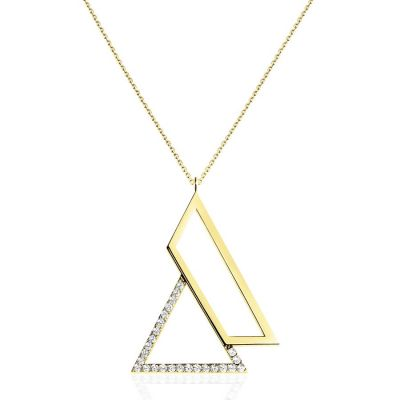 Triangle Necklace in 14k Yellow Gold   OSYLIA London