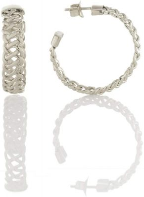 Tulola Woven Platinum over Silver Hoop Earrings