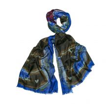 Abstract Elephant Blue Silk Wool Scarf