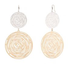 POTC Jewellery - Abstract Spiral Two-Tone Disc Earrings