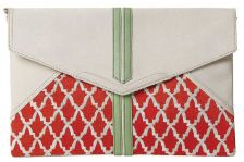 Anfa Pearl White Envelope Clutch