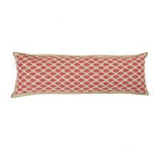 Artisan Hand Loomed Cotton Body Pillow - Red with Green Stitching
