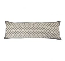 "Artisan Hand Loomed Cotton Lumbar Pillow - Grey Dots - 16""x48"""