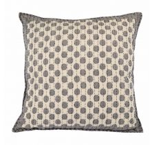 Artisan Hand Loomed Cotton Square Pillow - Dots in Grey - 24""