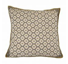 Artisan Hand Loomed Cotton Square Pillow - Grey with Yellow Stitching - 24""