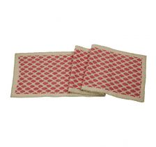 "Artisan Hand Loomed Cotton Table Runner - Red with Green Stitching - 18""x96"""