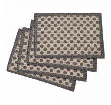 "Artisan Hand Loomed Place Mat - Gray Dots - 14"" x 19""- Set of 4"