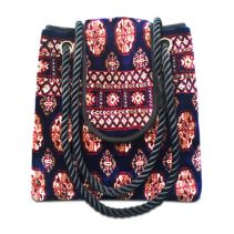 TORBA PLUS Bukhara Navy Tote Bag | Made of Carpet