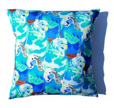 Baffling Blue Budgies Cushion | Chloe Croft