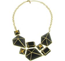 Isharya Black Pyramid Luxe Bib Necklace