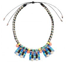 NOCTURNE Blake Blue Adjustable Thread-Wrapped Necklace