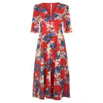 Blithe Floral Short Sleeve Midi Dress in Red