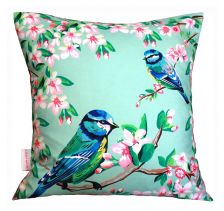 Blue Tits And Flowers Cushion | Chloe Croft