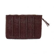 KAYU Design Kaba Brown Microfiber with Braided Detail Clutch