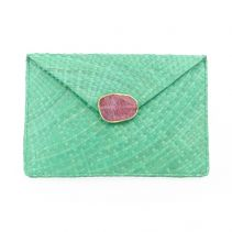 Green Capri Clutch With Natural Agate | KAYU Design