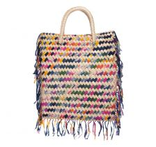 Careyes Straw Multicolour Weaved Fabric Top Handle Bag