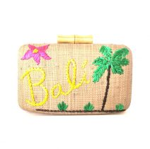 KAYU Design Bali Embroidered Raffia with Wooden Clasps Clutch
