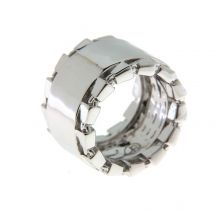 Chain Link Accent Band Rhodium Statement Ring | SiammPatra