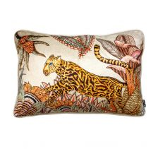Cheetah Kings Forest Magnolia Velvet Cushion Cover with Piping