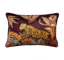 Cheetah Kings Forest Plum Velvet Cushion Cover with Piping