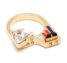 City Maps Knuckleduster Enamel Gold Ring by Maria Francesca Pepe - mfPepe