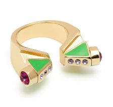 City Maps Enamel Bow Deco Gold Ring Maria by Francesca Pepe - mfPepe