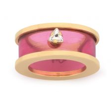 City Skyline Deco Plexi Triangular Swarovski Gold Fuschia Ring by Maria Francesca Pepe
